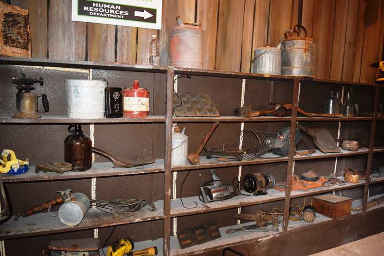 mining paraphenalia at haunted mine drop attraction