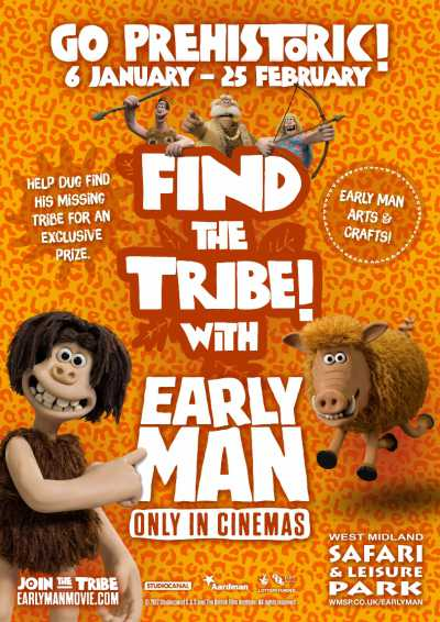west midland safari park poster for early man aardman activities
