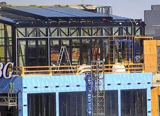 openaire enclosure under construction at Washington MOXY by Marriott hotel