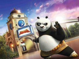 Kung Fun Panda immersive theatre attraction at the DreamWorks Theatre in Universal Studios Hollywood.