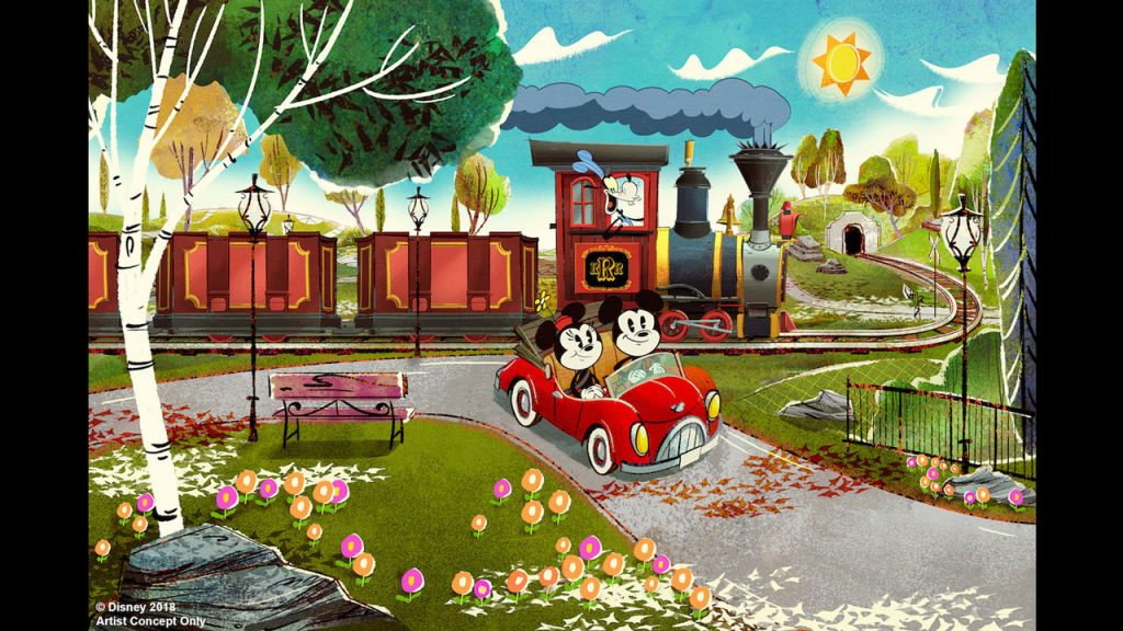 New Disney Hollywood Studios ride Mickey and Minnie's Runaway Railway concept art.