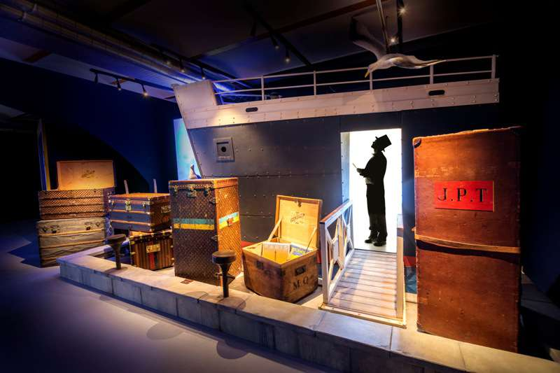 louis vuitton trunks exhibited aboard an ocean liner
