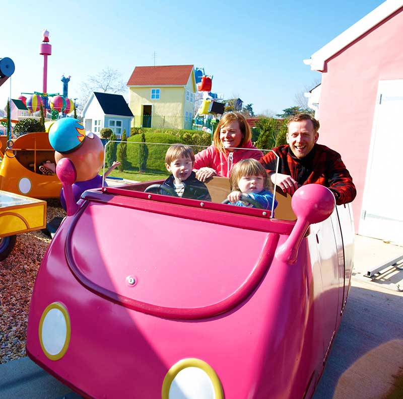 paultons park peppa pig world pink family car