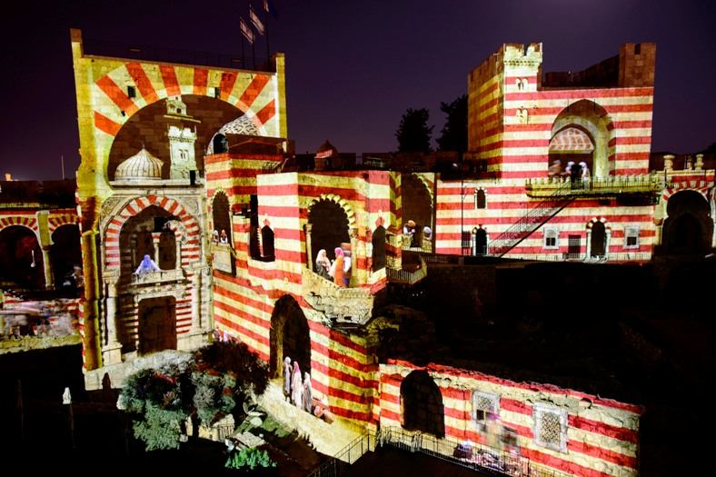 digital projection tower of david night spectacular showing arabni people inhabiting the Citadel