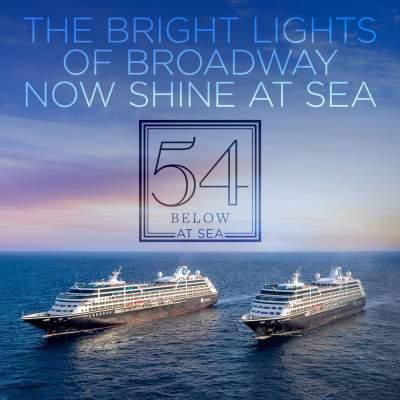two amazara cruise ships broadway lights shine at sea