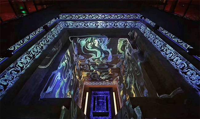 projection on lady dai tomb at hunan museum featuring han dynasty blue dragon
