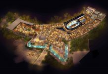 aerial view of Jora Vision design for pirate attraction at amikoo theme park mexico