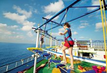 teenager on ropes courses inc. sky trail ropes course carnival cruise line