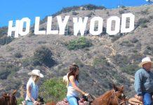 horseback riders on Karmel Shuttle tour to Hollywood sign