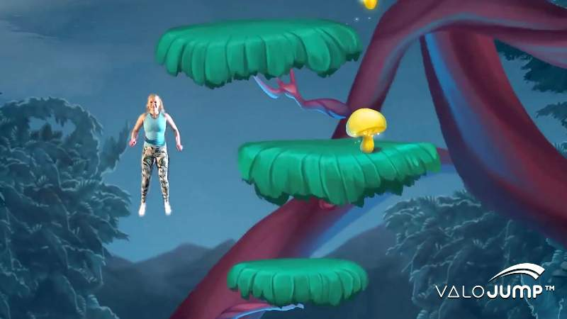 valojump screen showing real girl in animated game