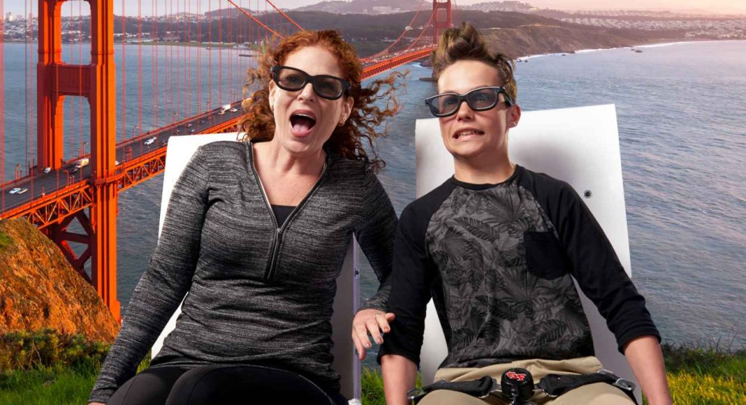 guests fly over golden gate bridge in new 3D flying theatre The Flyer