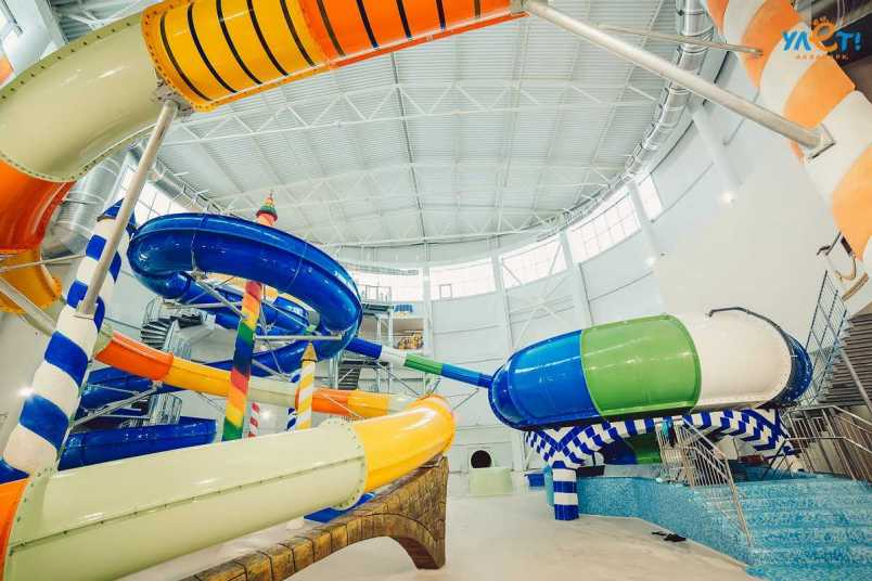 a mutli-coloured curving waterslide in ulet indoor waterpark ulyanovsk russia