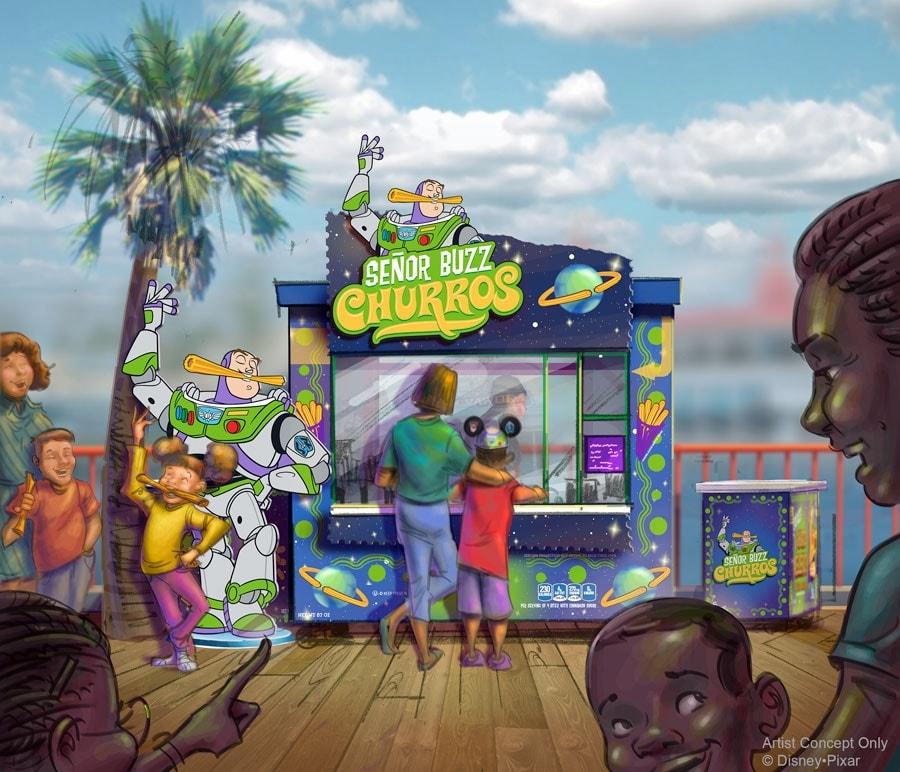 Artist concept of Senor Buzz Churros at Pixar Pier.