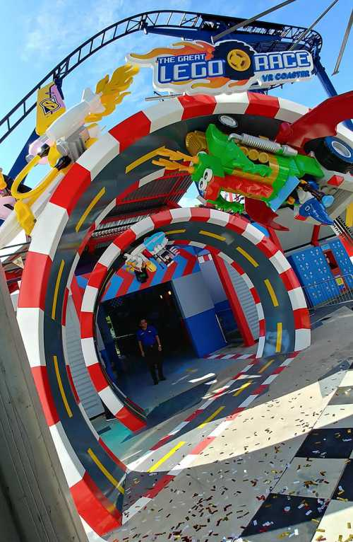 entrance to great lego race vr coaster at legoland deutschland