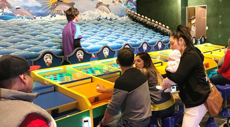 families playing dolphin derby