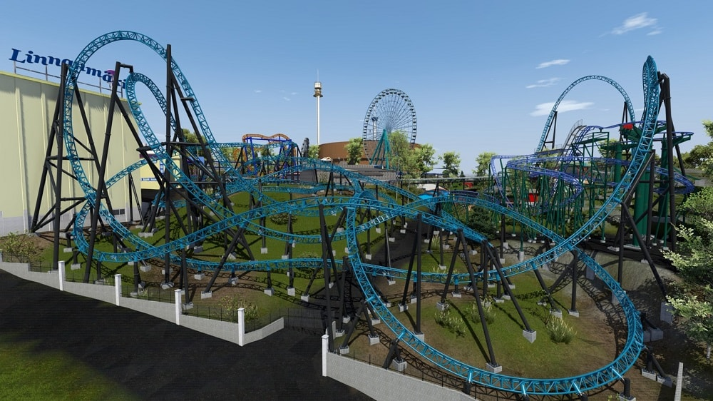 Linnanmäki Taiga launch roller coaster with four inversions designed by Intamin