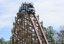 Twisted timbers hybrid coaster at Kings Dominion designed by Rocky Mountain Construction