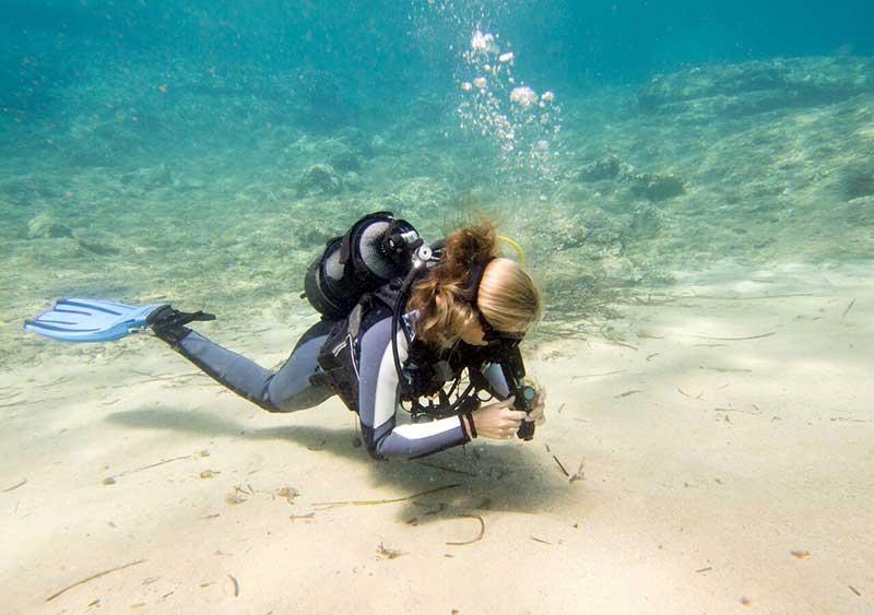 researcher clear reef scuba diver