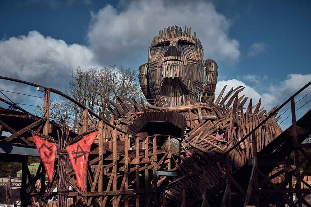 Scruffy Dog design Wicker Man coaster at Alton Towers
