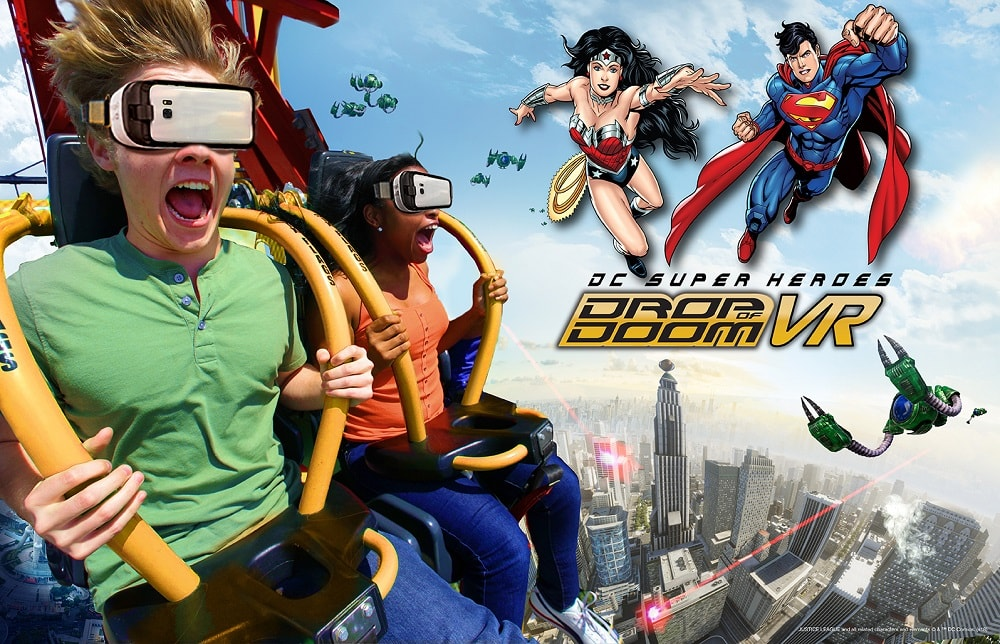 DC Super heroes drop of doom VR at Six Flags Magic Mountain