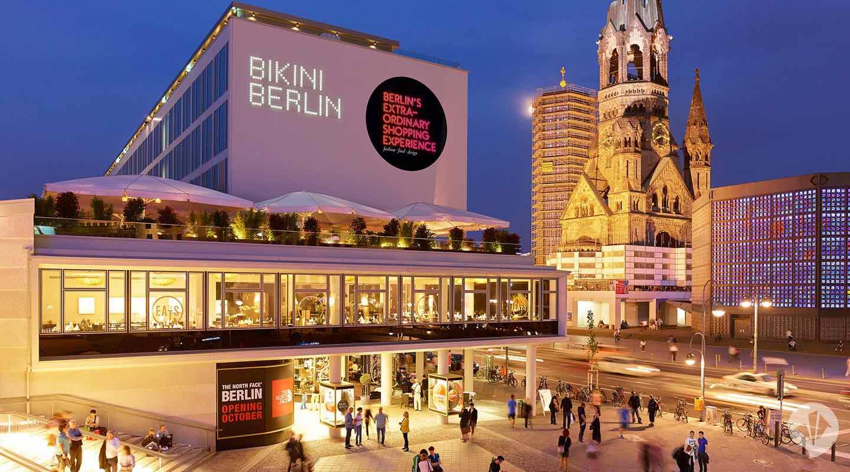 Bikini Berlin retail destination Bikinihaus at dusk