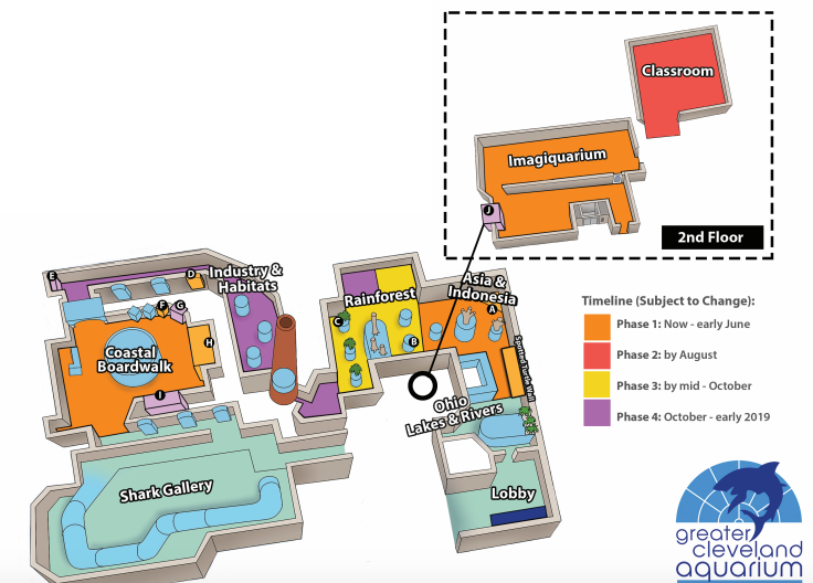 A map of the renovations to Greater Cleveland Aquarium.