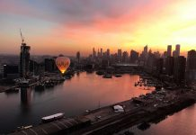 hot air balloon at sunset global ballooning australia
