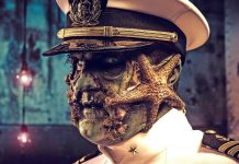 captain at dark harbor halloween event aboard queen mary