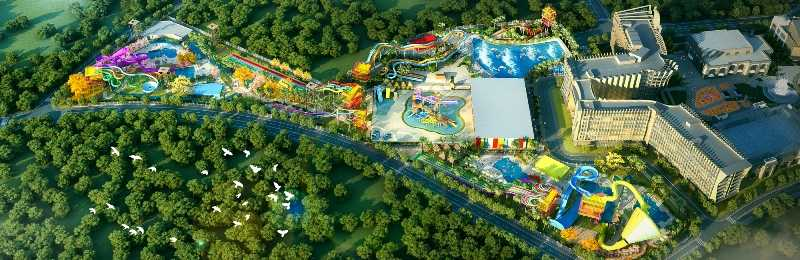 birds eye view of wet'n'wild Haikou water park