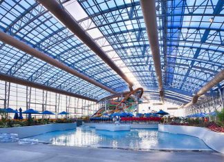 retractable roof at Epic Waters indoor waterpark texas