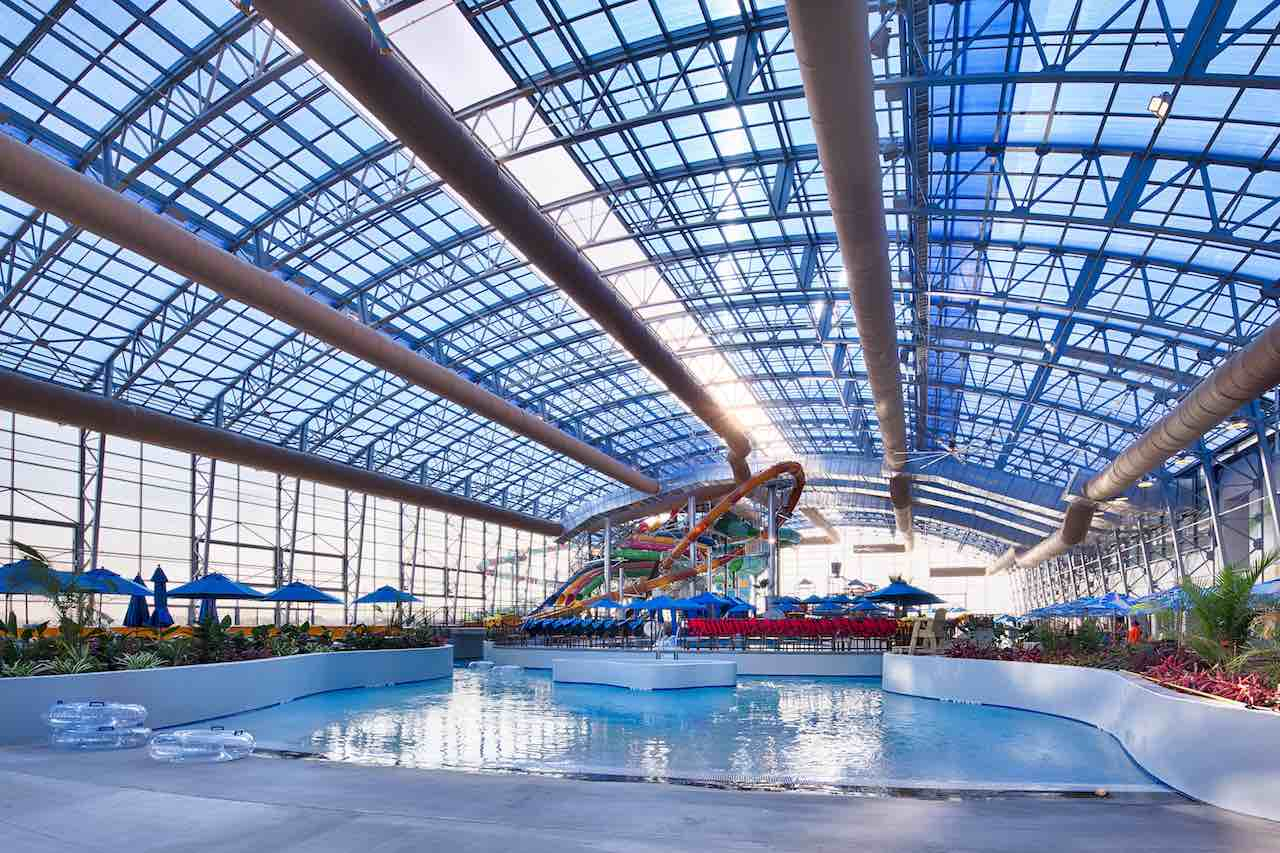 Epic waters indoor waterpark and its retractable roof for Indoor pool with retractable roof