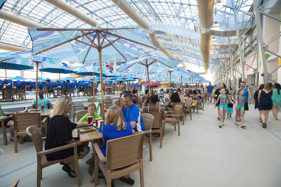dining at Epic Waters indoor waterpark under retractable roof