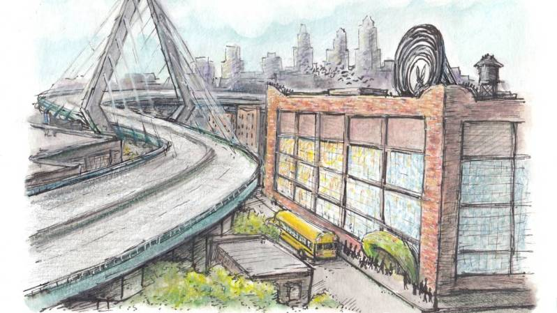 explorastorium concept drawing with bridge