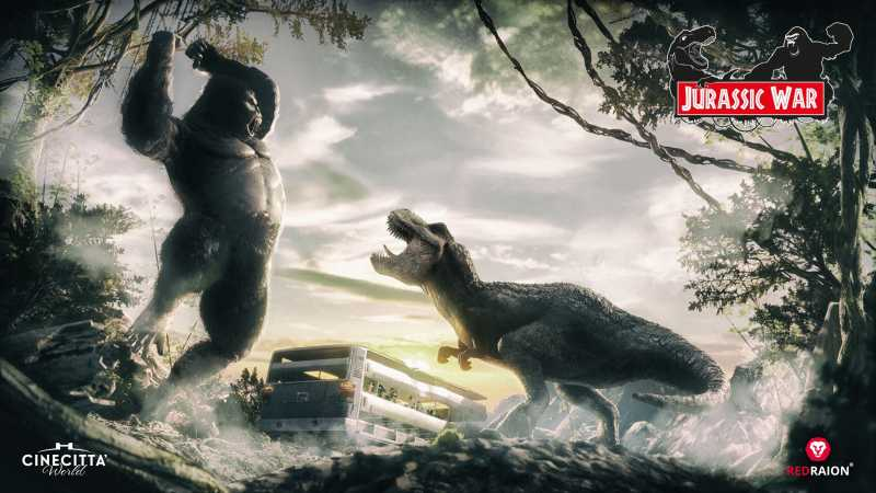 king kong and trex battle in jurassic war immersive tunnel experience at Cinecittà World