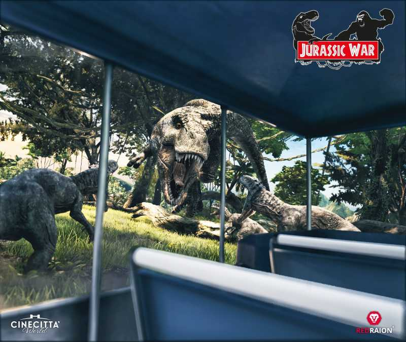 dinosaurs attack in Jurassic War experience at Cinecittà World