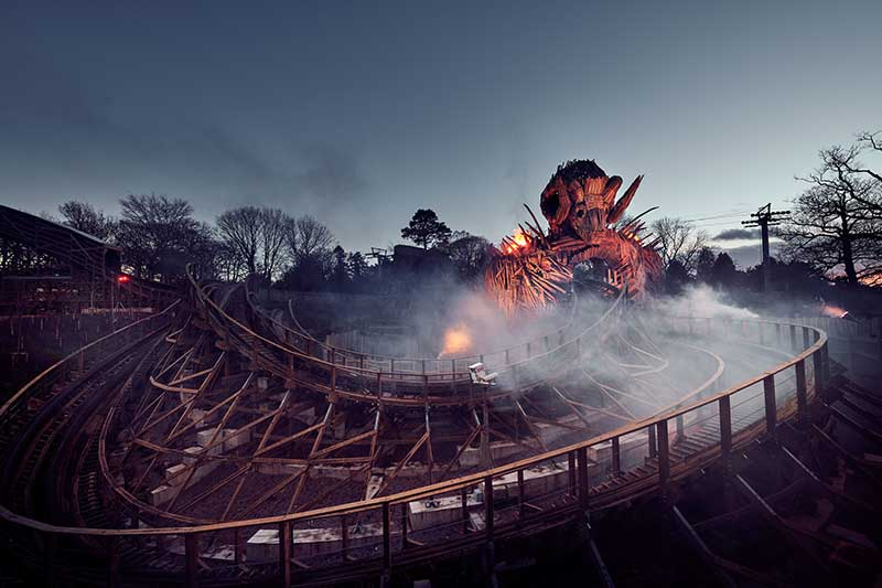alton towers wickerman evening smoke