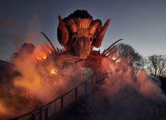 alton towers wickerman flames smoke dusk