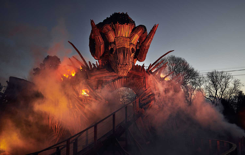 alton towers wickerman flames smoke dusk