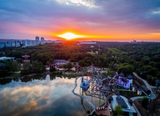 legendia theme park poland aerial view sunset