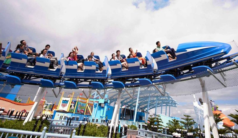 visitors on coaster at acrtic blast exhibit ocean park hong kong