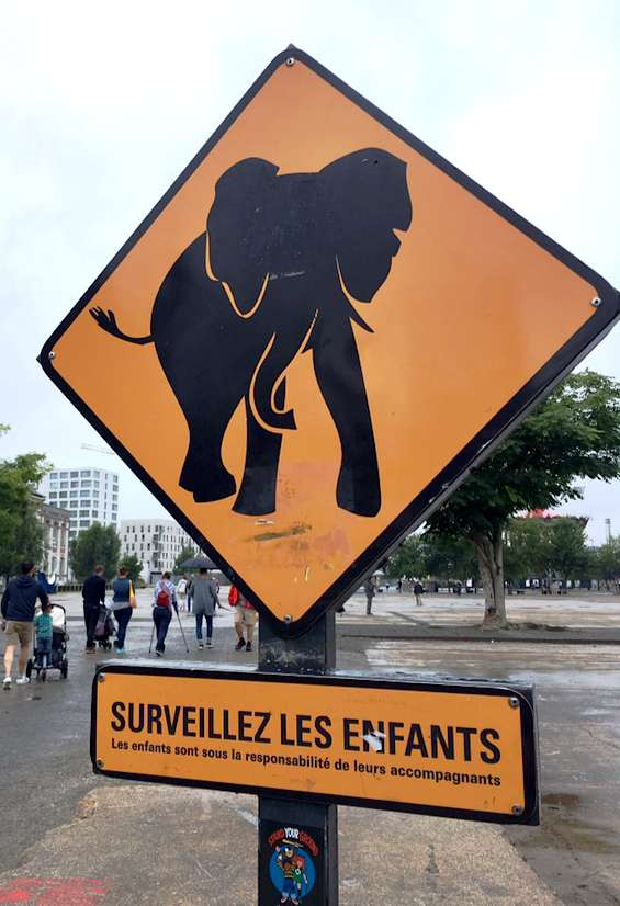 caution elephants sign