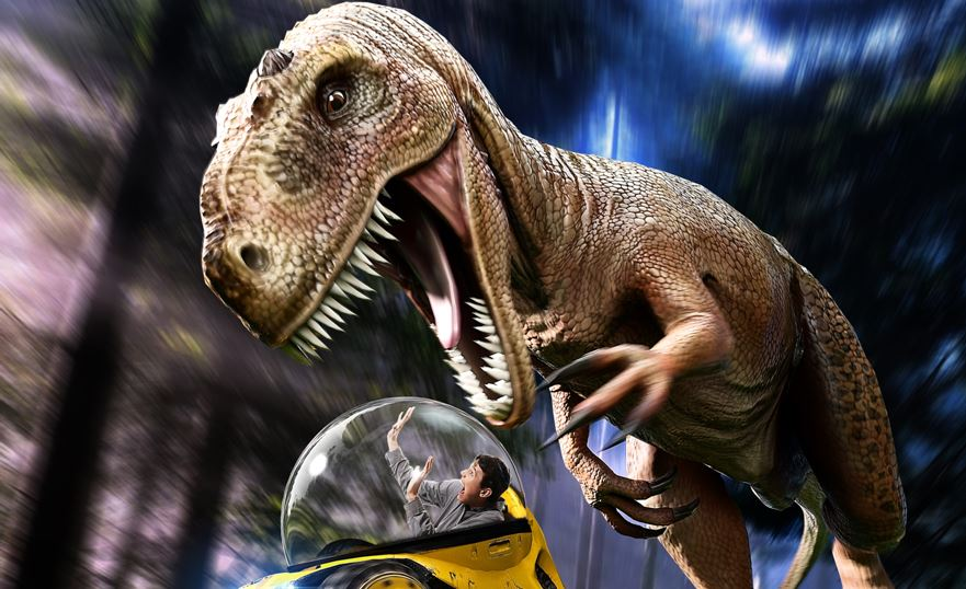 trex attacks buggie - the juice films dinotrek vr 4d adventure