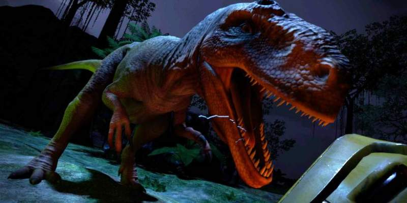 trex lurches forward in dinotrek by the juice films