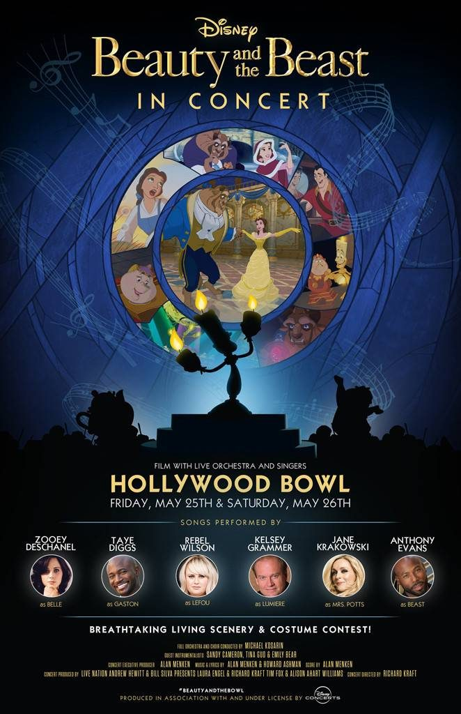 beauty and the beast poster hollywood bowl