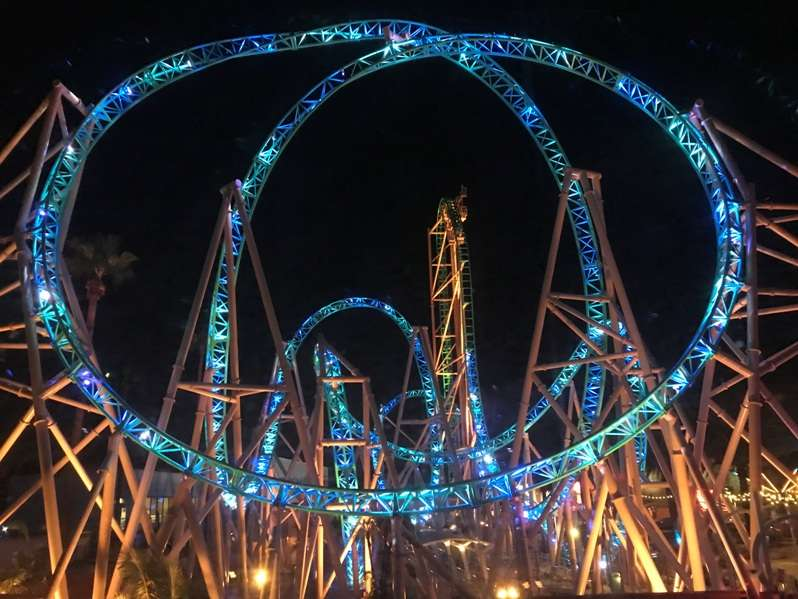 illuminated hangtime coaster at knotts berry farm