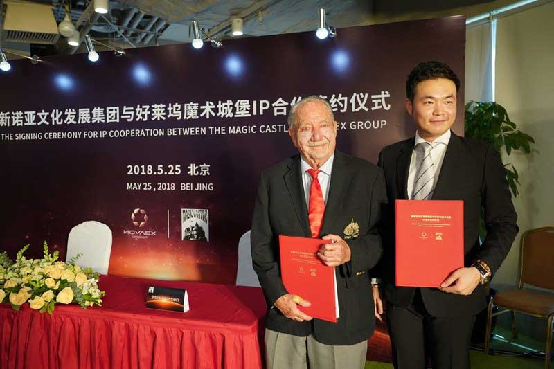 Milt Larsen The Magic Castle and Jason Zheng Novaex sign licensing agreement for China