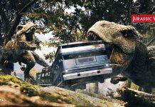 red raion jurassic war immersive tunnel movie - dinosaurs attack bus
