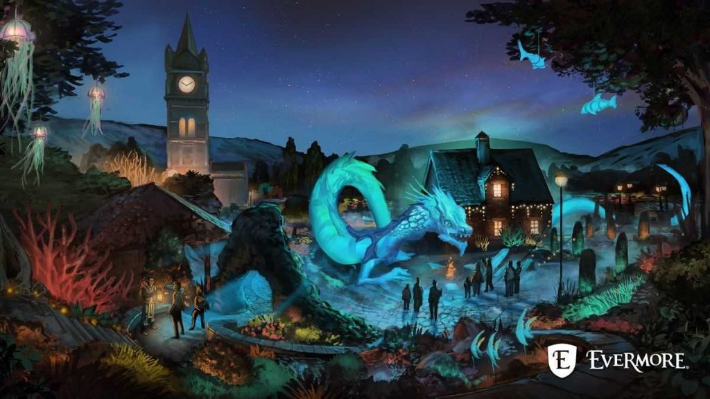 evermore park art mythos blue mythical creature town