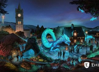 evermore park art mythos blue mythical creature town