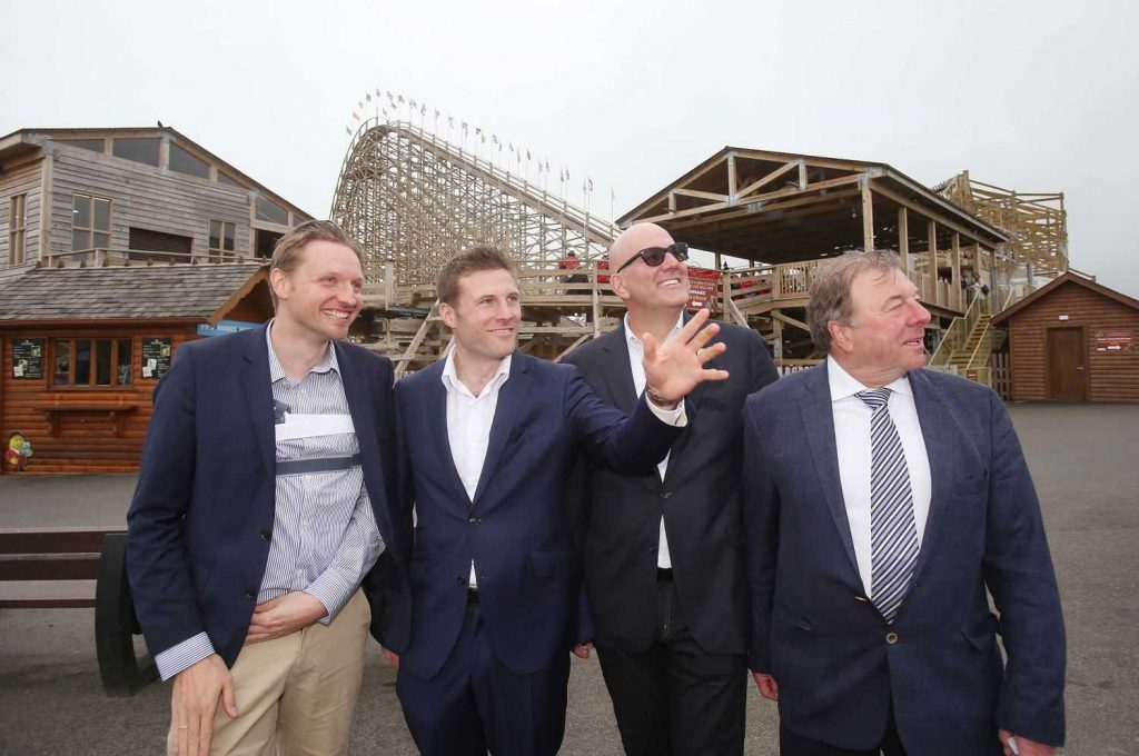 Left to right: Jakob Wahl, Tayto Park MD Charles Coyle, Doug Stagner, Tayto Park founder Ray Coyle IAAPA EMEA spring formal